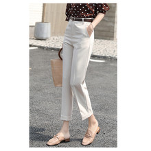 JUJULAND women OL chiffon high waist pencil pants sweet elastic pockets casual trousers pantalones 918