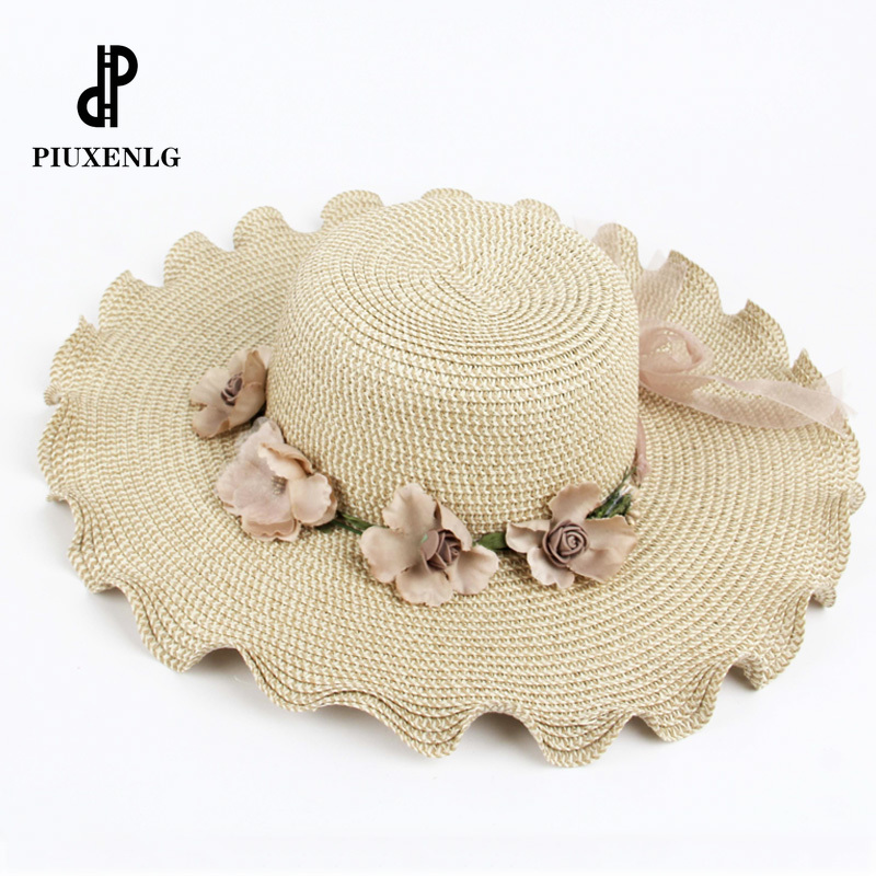 PZZY JGDD Women's Summer Hat Beach Travel Straw Hat Female Sun Shade Bohemian And Panama Cap Big wide brim hats for women leng01(China)