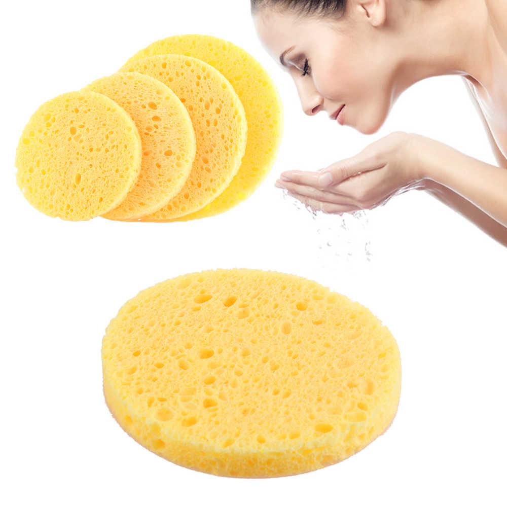 3 Pcs Natural Wood Pulp Facial Sponge Exfoliator Sponge Cellulose