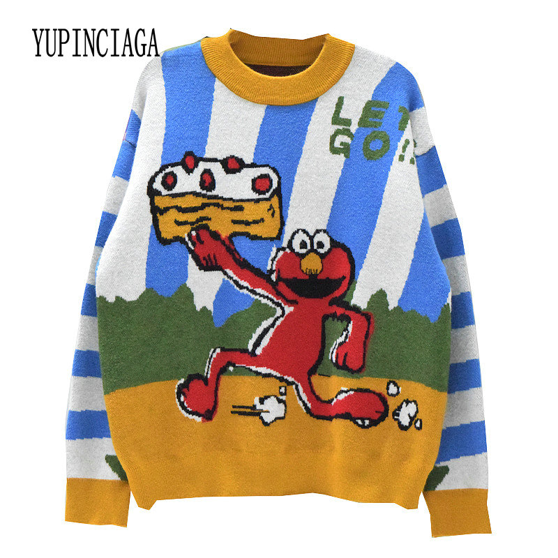 YUPINCIAGA Harajuku Style Sesame Street Double Jacquard Thick Pullover Women Cartoon Embroidery Sweaters Kawaii Knitted Pullover