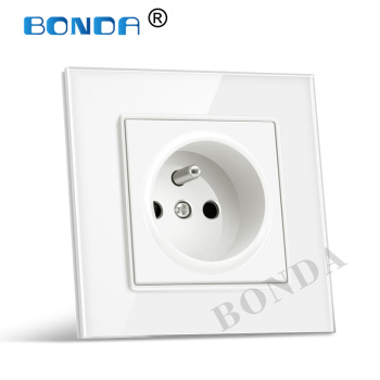BONDA EU Wall Socket ,French standard white black gold crystal glass panel AC 110- 250V 16A wall outlet 16A 2100ma Manufacturer eruiklink eu standard 2 gang wall power socket white crystal glass panel ac110v 250v 16a wall outlet
