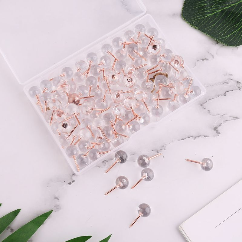 100pcs/set Rose Gold Pushpins Thumb Thumbtack Board Round Ball Drawing Wall Studs School Office Supplies