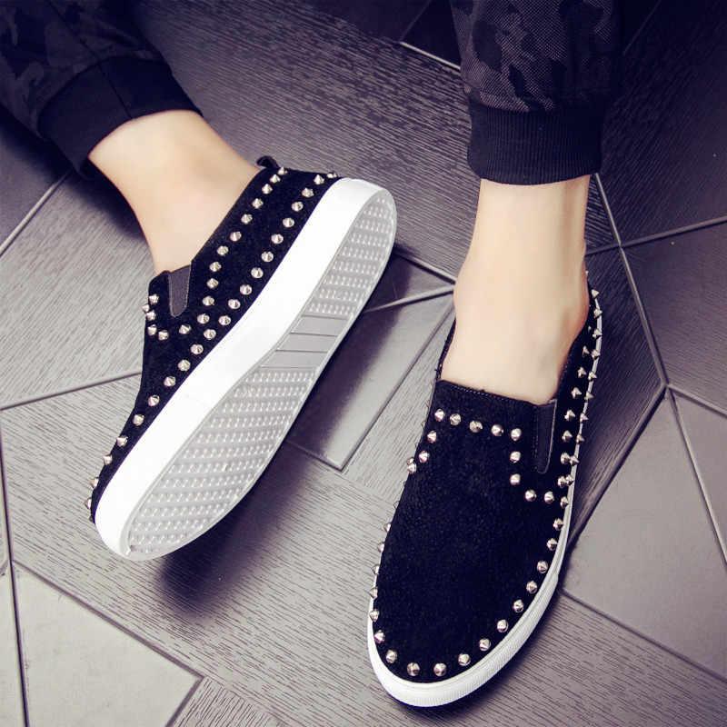 2019 mocasines clásicos para Hombre Zapatos Oxford de cuero negro antideslizantes zapatos casuales para hombres con diamantes de imitación remaches zapatos de fiesta rojos mocasines planos para hombre