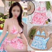 Bikinis Sexy Swimwear Women 3piece Bathing-Suit String Push-Up Triangle Tie-Dye Femme