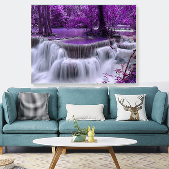 HUACAN Diamond Painting Waterfall Full Square Round 5D DIY Diamond Embroidery Sale Landscape Handicraft Home