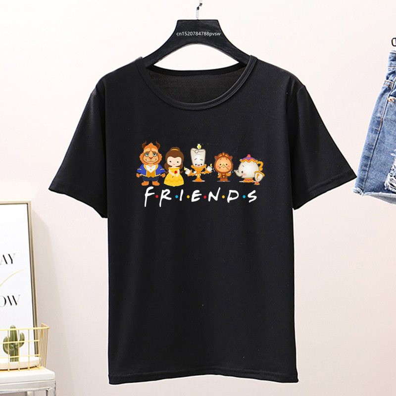 Beauty And The Beast Friends Shirt Cute Vacation Cartoon Graphic Print T-shirt Womens Lovely Couple Top&tee,Drop Ship