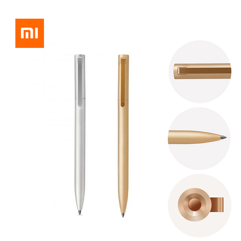 In Stock Original Xiaomi Metal Sign Pen Pen Ballpen Mijia Silver Pen 0.5MM PREMEC Smooth Switzerland Refill Black Blue Ink