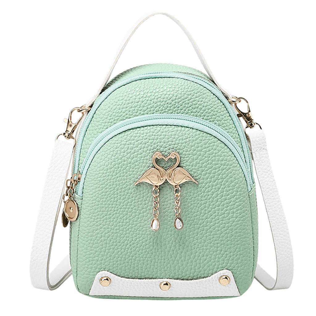 موضة المرأة بلون الجلود ليتل سوان حقيبة الظهر حقيبة كتف صغيرة حقيبة ظهر للفتيات حقيبة صغيرة للنساء #35