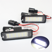 цена на 1 Pair LED License Plate Light For VW For Volkswagen GOLF 4 5 6 7 Polo 6R Car Parts White Number Plate light Tail Stop lamp