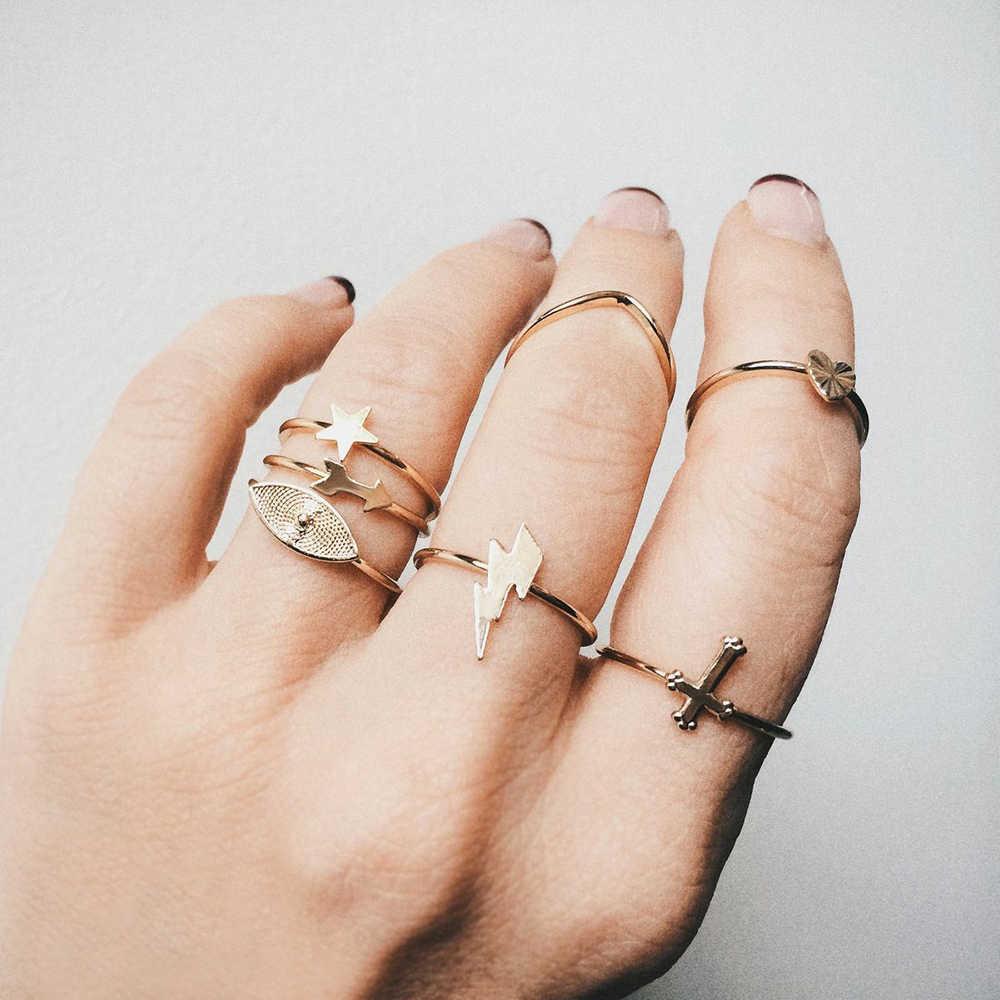 Женский винтажный набор колец Boho Crystal Lightning, регулируемые модные кольца в форме сердца с кристаллами, вечерние ювелирные изделия, подарок
