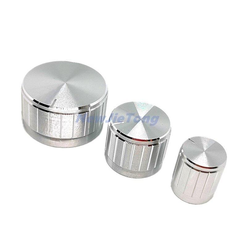 5pcs Silver Aluminum Alloy Potentiometer/Encoder Knobs Switch Caps 30/21/15 X 17mm Half Shaft Plum Shaft