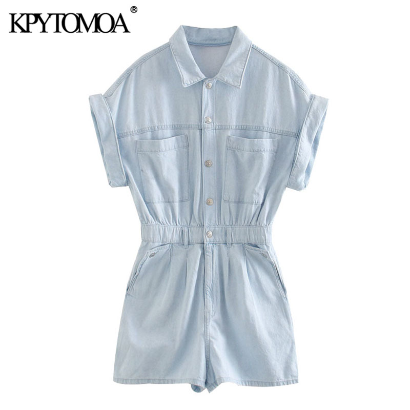KPYTOMOA Women 2020 Chic Fashion Pockets Denim Playsuits Vintage Turn-up Sleeves Elastic Waist Female Short Jumpsuits Mujer