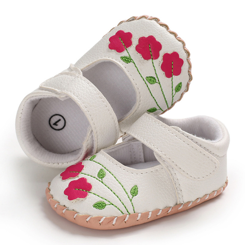 Baby Girl Shoes Newborn Toddler Boy Soft Handmade Rubber Sole Embroidered Flower Infant First Walkers Princess Baby Crib Shoes in First Walkers from Mother Kids