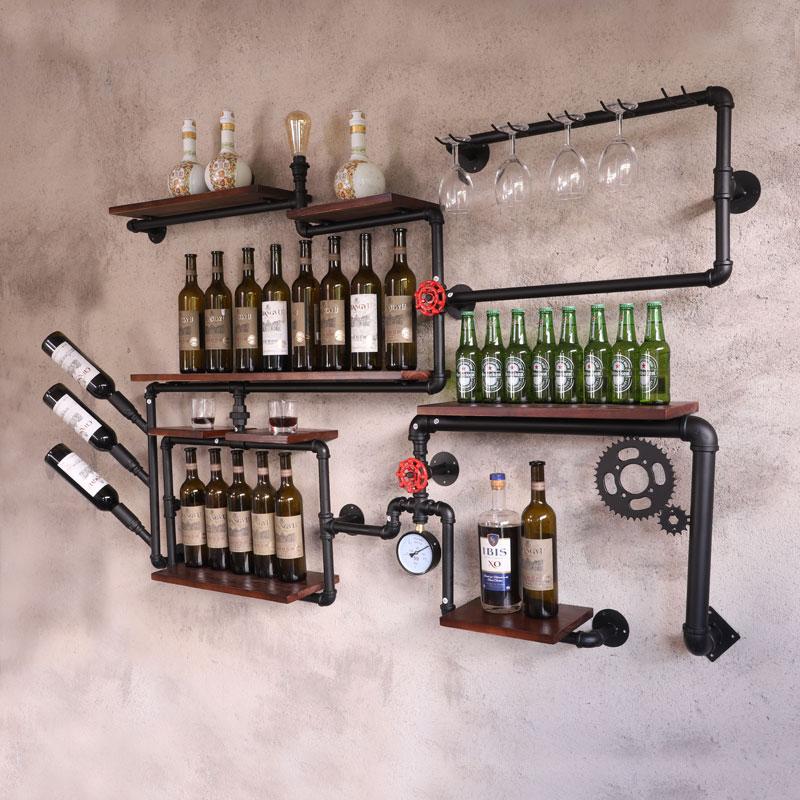 ร้านกาแฟบาร์ไวน์ตู้แร็คไวน์ LOFT Retro สไตล์อุตสาหกรรมชั้นวางของชั้นวางเหล็กไม้ท่อแขวนผนังชั้...