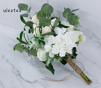Wedding Bouquet White Bridesmaid Wedding Artificial Flowers Peony Leaves Forest Bridal Bouquet Fake SPH75