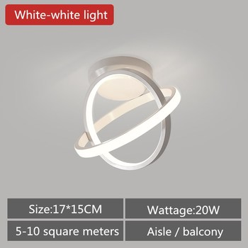 Artpad Modern Ceiling Lamp Hallway Aisle Balcony Nordic Wrought Iron LED Ceiling Light Indoor Lighting 20W Black White AC90-260V 8