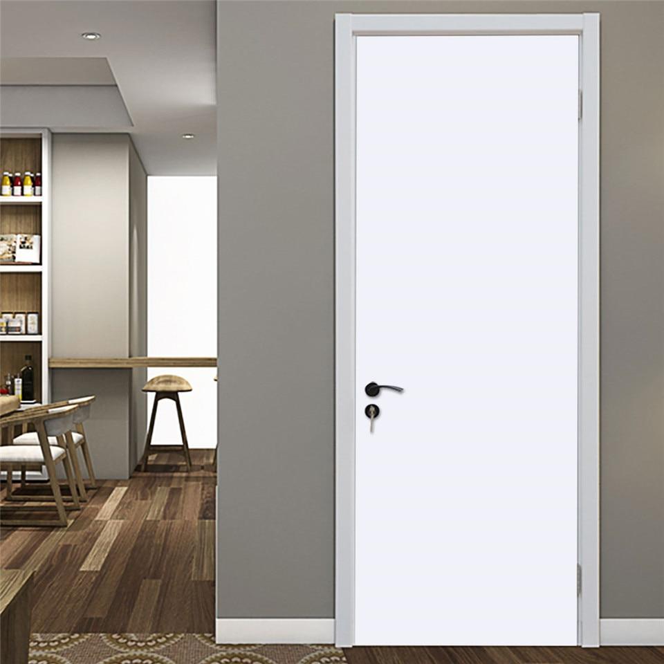 2pcs/set Simple White Door Sticker Home Decor Adhesive Waterproof Wallpaper PVC Poster Renovation Of Doors Wall Art Mural Decals