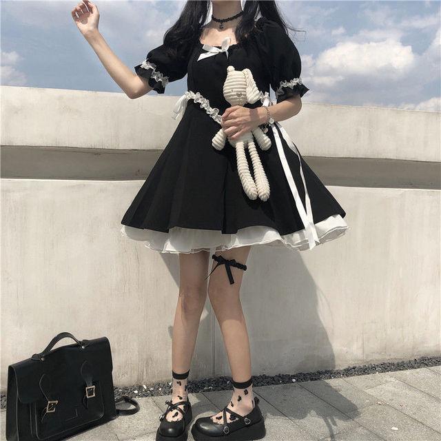 QWEEK Gothic Lolita Dress Soft Girls Sweet Lolita Style Kawaii Cute Lace-up Puff Sleeve Dress Princess Fairy Goth Dress 2021 6