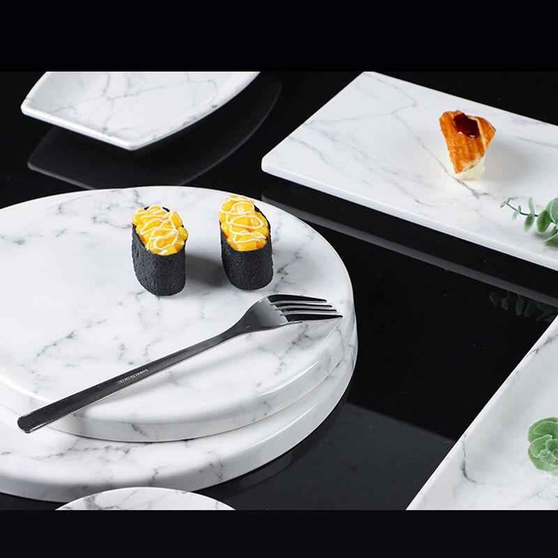 Мраморный Меламиновый поднос JINSERTA, поднос для десертов, фруктов, тортов, закусок, тарелка, посуда для отеля, ресторана, кафе, чая, кофе, сервировочный поднос-4