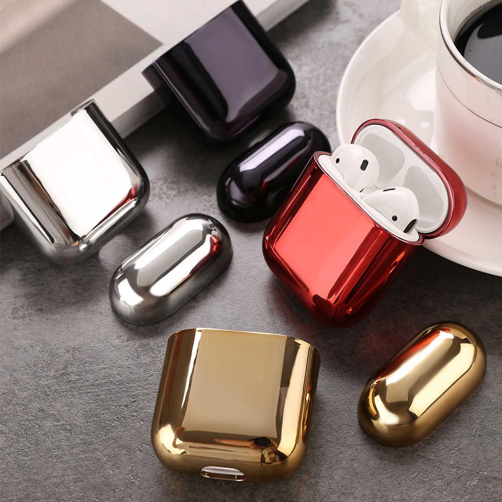 Glans Plating Oortelefoon Case Cover Voor Airpods 1 2 Zilver Paars Hard PC Case Gesp Voor Apple Airpods 1 2 bluetooth Headset Doos
