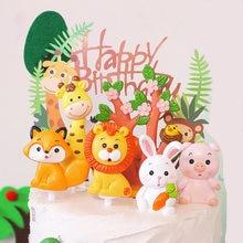 Leão coelho animal bolo topper decoração do bolo de aniversário chá de fraldas um primeiro 1st feliz aniversário festa decoração criança selva animal festa