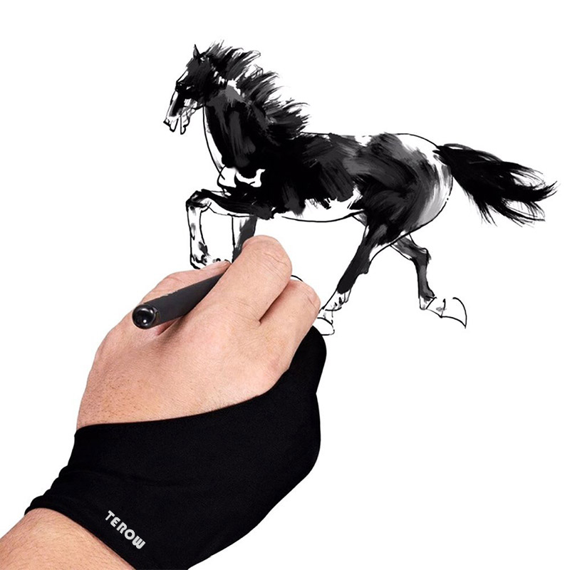 2Pcs Artist Drawing Glove For Any Graphics Drawing Table 2 Finger Anti-Fouling Both For Right And Left Hand Drawing Gloves