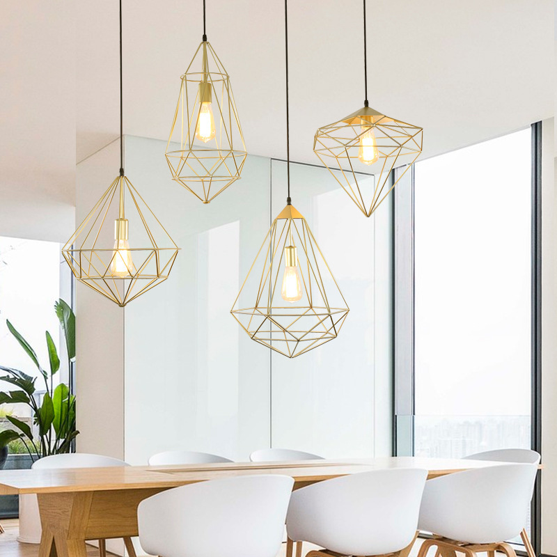A Chandelier Northern Europe Concise Wrought Iron Lamps And Lanterns Modern Originality Restaurant A Living Room Study Bar