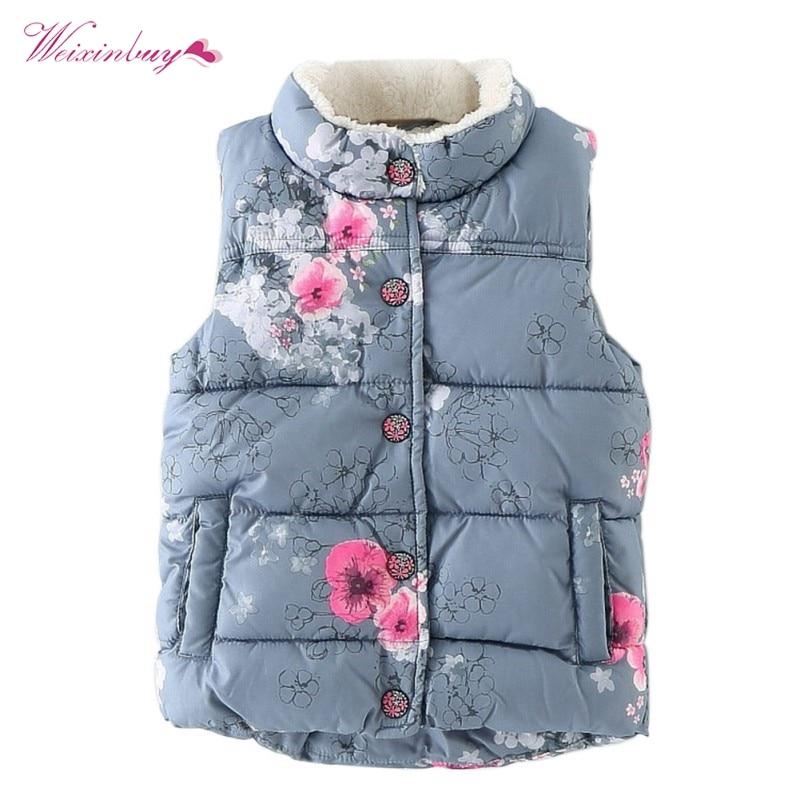 Weixinbuy Infant Baby Girl Floral Flower Warm Coat Winter Vest Jacket Waistcoat