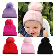 Kids Winter Knitted Hat Pompom Ball Warmer Wool Fur Baby Boys Girls Caps Crochet Knitted Hats Skull Caps Pompom Beanies недорого