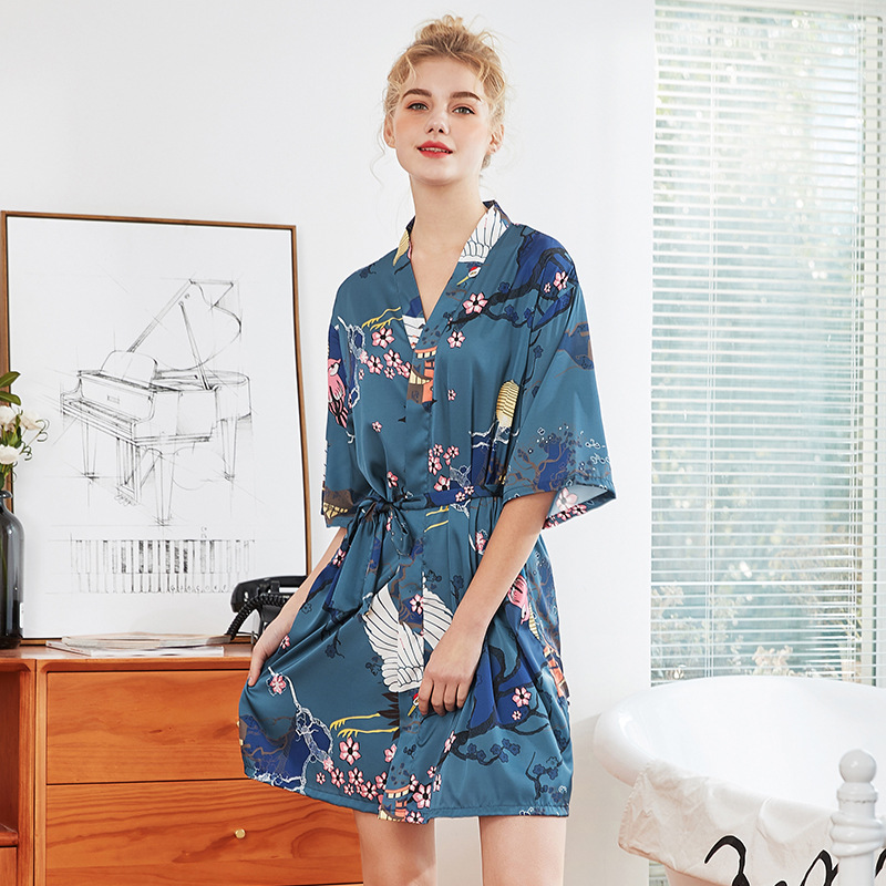 Yao Ting New Style Silk Women's Robes Women's Spring Floral Half-sleeve Shirt Silk Home Women's Robes Wp1053
