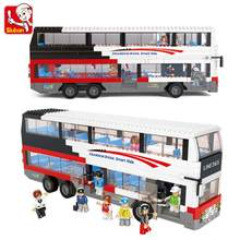 Sluban cidade escola ônibus blocos de construção amigos figuras cidade londres carro veículo modelo tijolos brinquedo educacional para o presente do miúdo 741 pçs