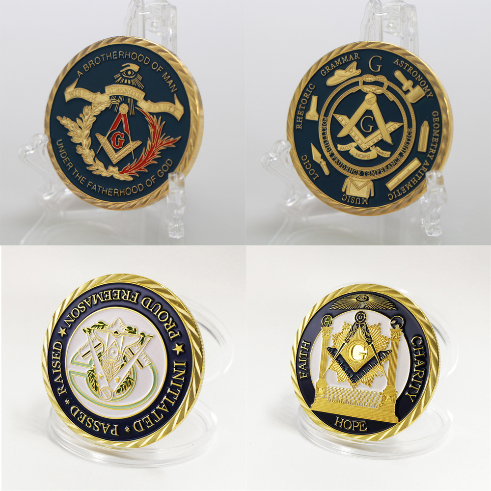 Coin European Masonic Freemasonry Brotherhood Gold And Blue Color Round Double Commemorative Coin Decorative Collection