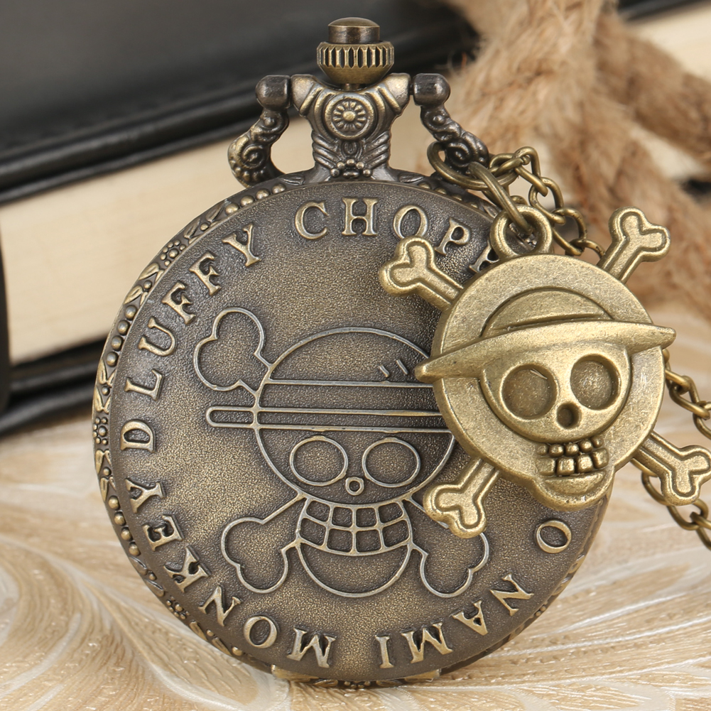 Bronze One Piece Theme Quartz Pocket Watch Men Women Pendant Clock With Retro Pirate Skull Pendant Necklace Chain Gifts For Fans