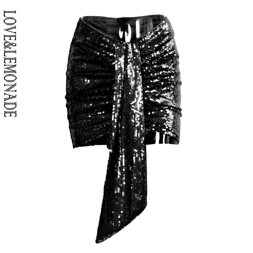 LOVE&LEMONADE Sexy Black V-Shaped Streamers Sequins Slim Skirt LM90160