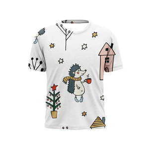 Christmas Cartoon Round Neck Can Be Customized Comfortable And Breathable T-Shirt Casual Clothing For Men And Women XXS-6XL