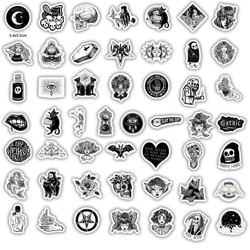 50 шт. черные и белые крутые DIY наклейки для скейтборда, ноутбука, багажа, сноуборда, холодильника, телефона, игрушки, Стильные наклейки для домашнего декора F5