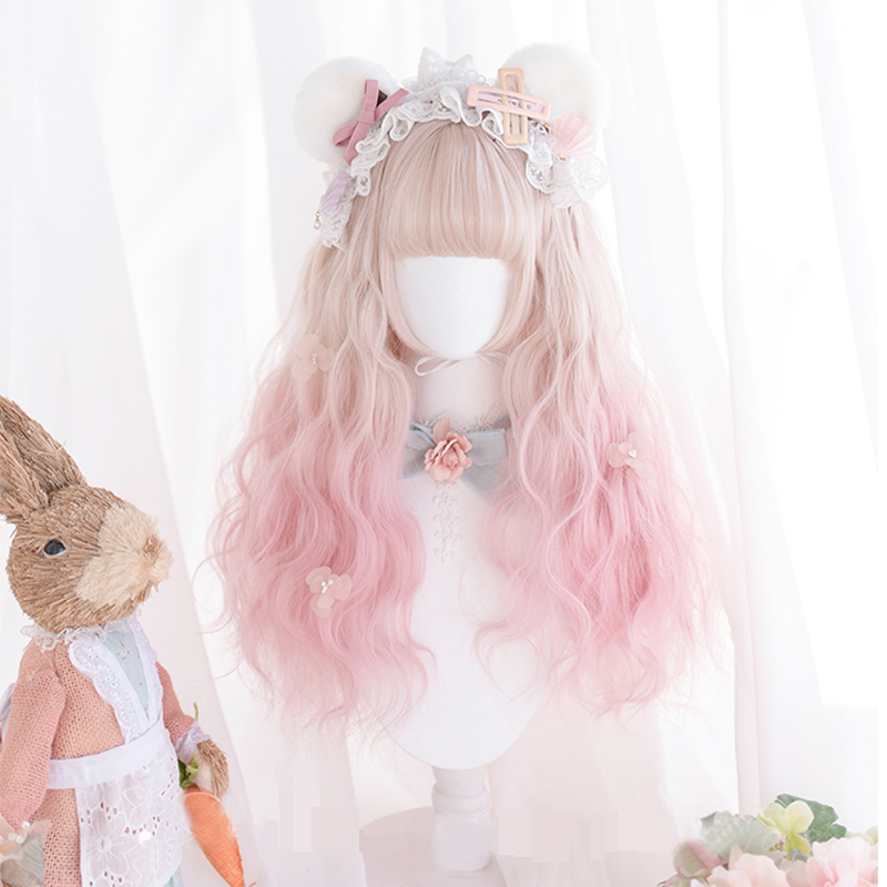 Daily Lolita Cosplay Wigs High-temperature Fiber Synthetic Hair Golden Pink Gradient Long Big Wave Curly Hair+free Hair Cap