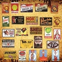 [Luckyaboy] Shell NGK Castrol Gulf BP Dunlop Agip STP Mobiloil Motor Oil Metal Tin Sign Pub Bar Garage Car Retro Decor AL008