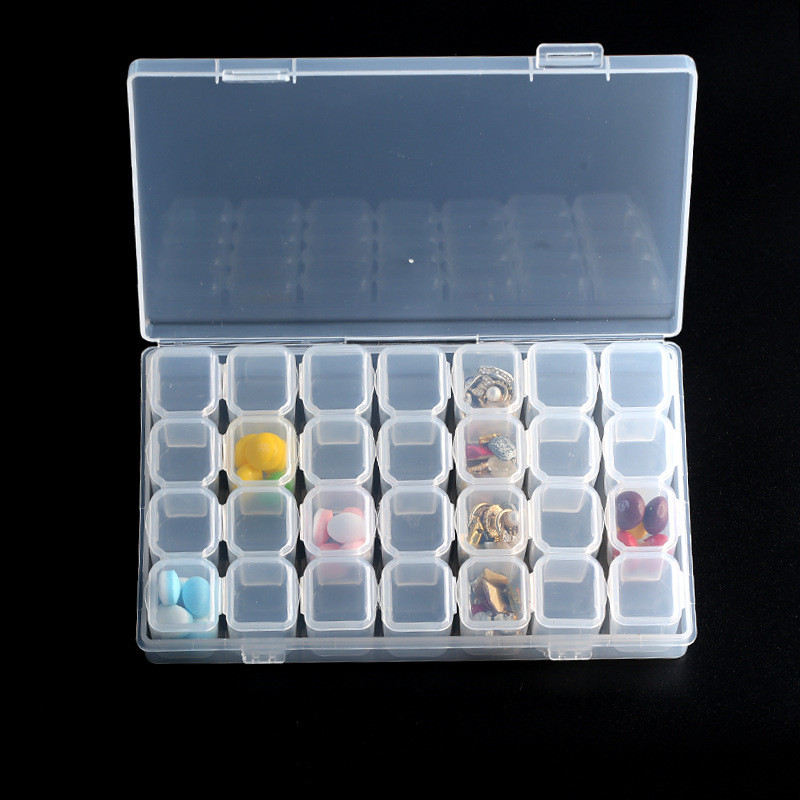 28 Slots Diamond Painting Kits Plastic Empty Box Nail Art Rhinestone Container Tools Box Case Organizer Home Beads Storage in Storage Boxes Bins from Home Garden