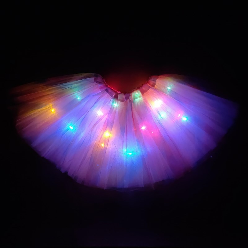 2020 new year Gradation Light LED Kids Coloured lights Tutu Skirt Princess Party Tutus Tulle  Child Ballet Dance skirt Rainbow 1