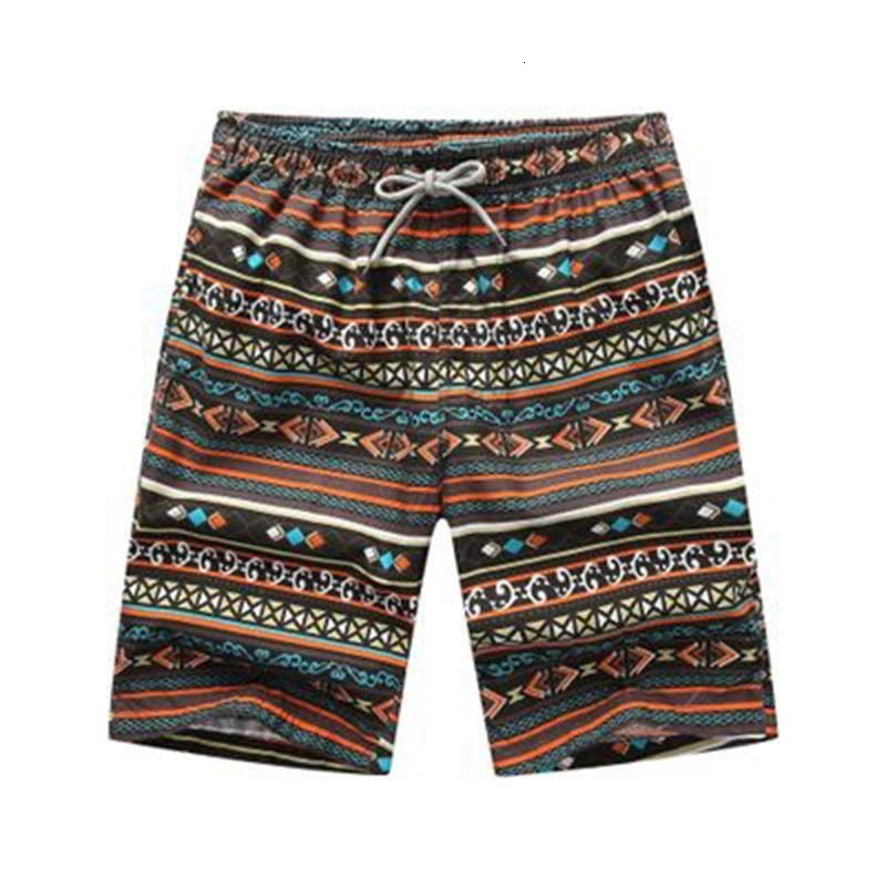 2019 Fashion Bohemian Style Casual Shorts Men's Pattern Loose Tie Breathable Shorts Homme Casual Sports Fitness Shorts Male