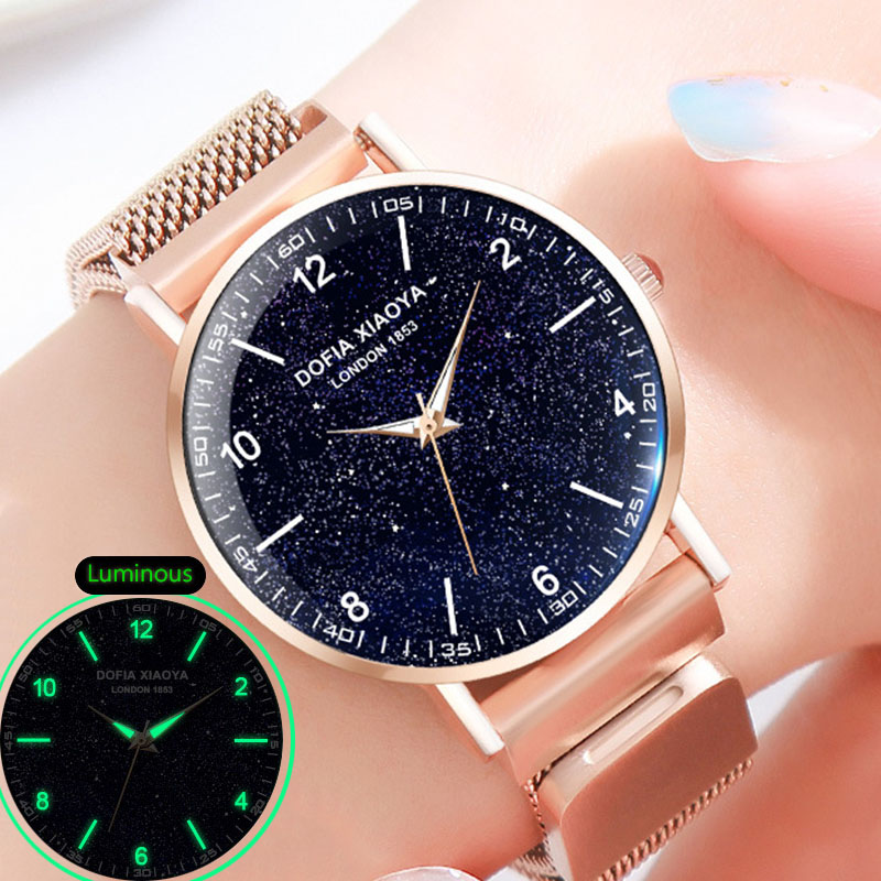 Women Bracelet Watch Magnetic Starry Sky Watch For Luminous Female Clock Ladies Stainless Steel Wrist Watch Waterproof Rose Gold