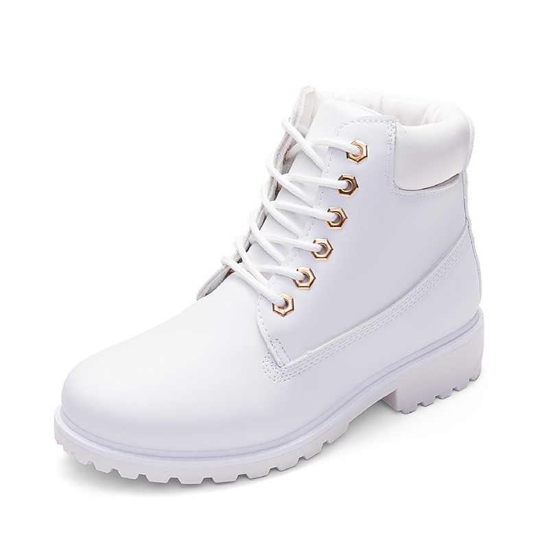 Mùa đông giày nữ giày nữ thời trang chắc chắn căn hộ Sneakers nữ Ủng Nữ Cột Dây Mùa đông cổ chân giày giày thường người phụ nữ yuj8