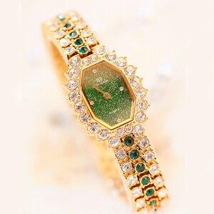 Image 2 - Montre Bracelet pour femmes, marque de luxe, petite robe, diamant, strass, 2020