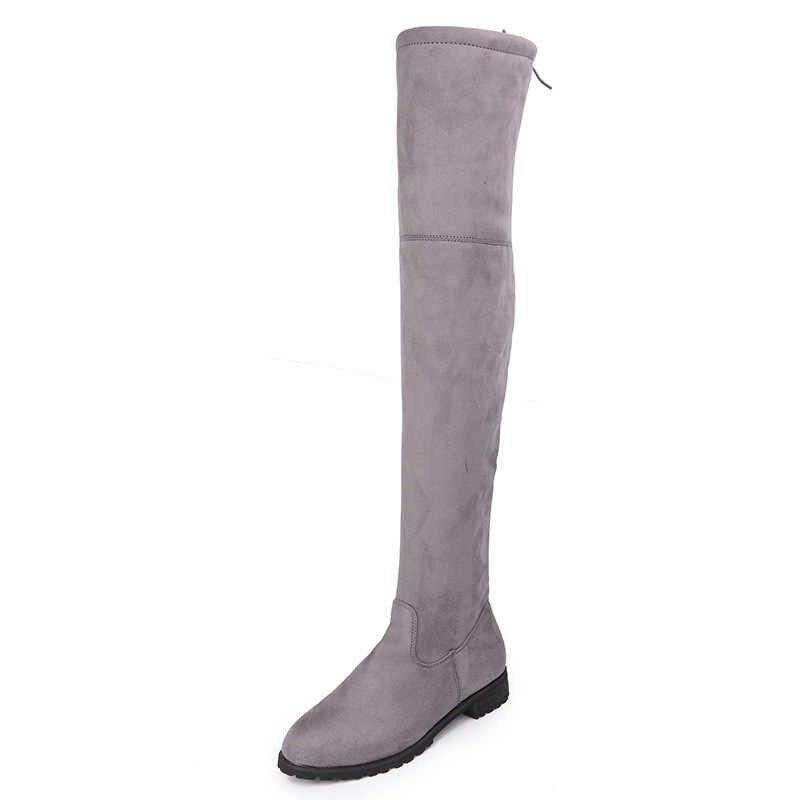 POLALI ต้นขาสูงรองเท้าหญิงฤดูหนาวรองเท้าผู้หญิงกว่าเข่าบู๊ทส์แบนยืดเซ็กซี่แฟชั่นรองเท้า 2019 สีดำ