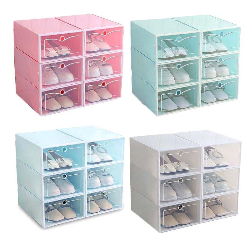 Image 2 - 6 шт. пластиковая коробка для обуви Складная хорошо складируемая коробка для обуви Органайзер чехол для хранения ящиков с откидной прозрачной дверью для мужчин и женщин 33,5x23,5x13 смПолки и органайзеры для обуви   -
