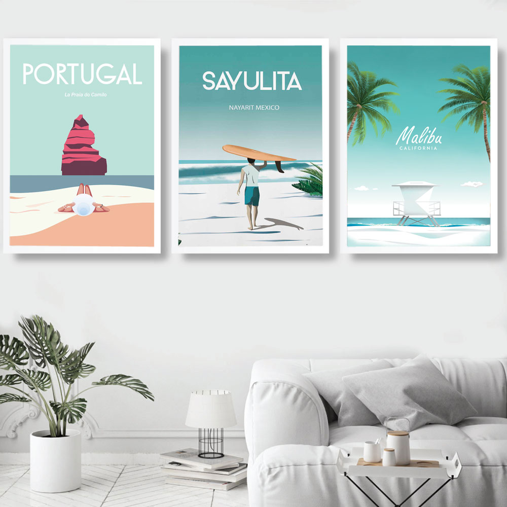 California Mexico Portugal Travel Vintage Posters Wall Art Canvas Painting Nordic Pictures And Prints Home Decor For Living Room