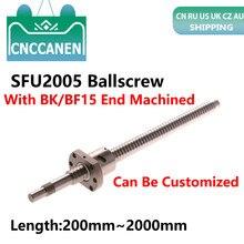 الكرة المسمار SFU2005 C7 نهاية تشكيله 300 مللي متر 500 550 600 800 1000 1150 1500 2000 مللي متر + RM2005 كرة مطاطية مرنة مغلفة بفولاذ مقاوم للصدأ الجوز 2005 Ballscrew ل CNC