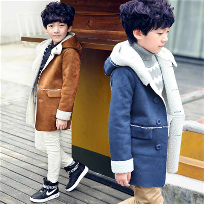 Baby boys Winter Warm Outerwear Thicken Hooded faux leather Fleece Jacket Kids boys Outfit Overcoat Parka Snowsuit boy clothes