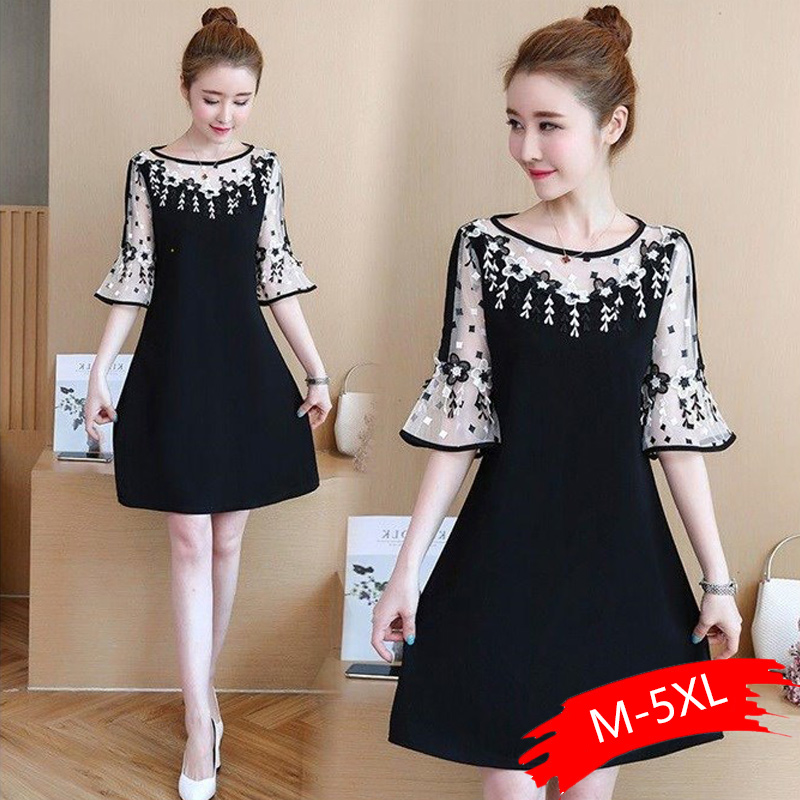 M-5xl Black <font><b>Lace</b></font> <font><b>Dress</b></font> Floral Embroidered <font><b>Sexy</b></font> Vintage <font><b>Elegant</b></font> Party Beach <font><b>Dresses</b></font> Flare Sleeve O-neck Vestidos 2019 Plus Size image